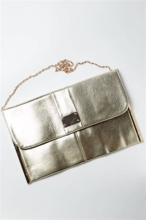 Chain Shoulder Badge gold metallic badge emblem clutch bag with chain shoulder
