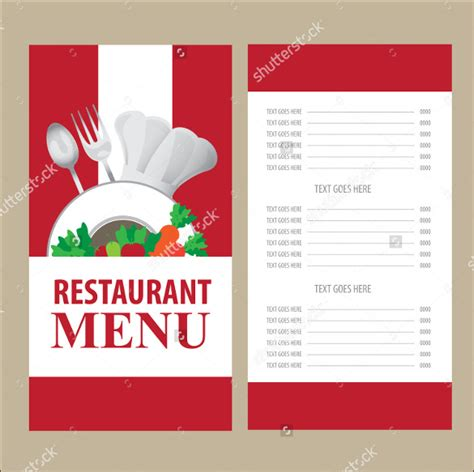 menu cards templates for restaurant 45 menu card templates free sle exle format