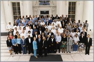 the working white house clinton family with staff white