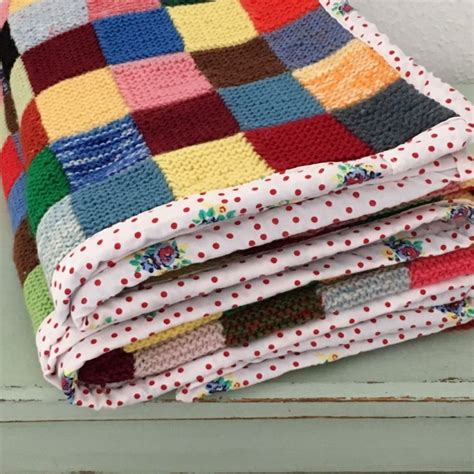Knitted Patchwork Blanket - knitted patchwork vintage wool blanket vintage past