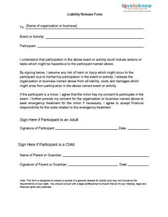 Printable Sle Release And Waiver Of Liability Agreement Form Laywers Template Forms Online Risk Waiver Form Template