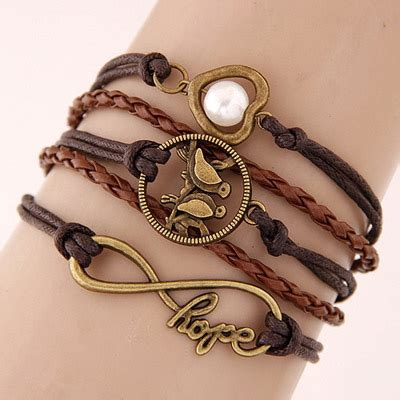 Gelang Korea Bracelet Multicharm Birds Anchor 2013 brown bird shape decorated multilayer design asujewelry