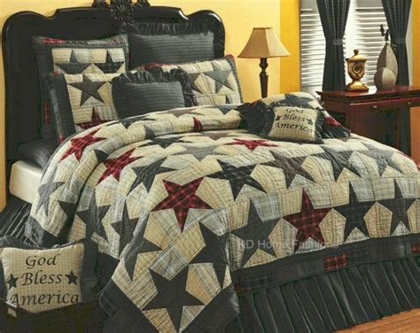 details  king quilt set primitive country farmhouse americana stars bedding sew cool