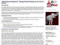 george orwell biography handout quot shooting an elephant quot george orwell s essay on his life