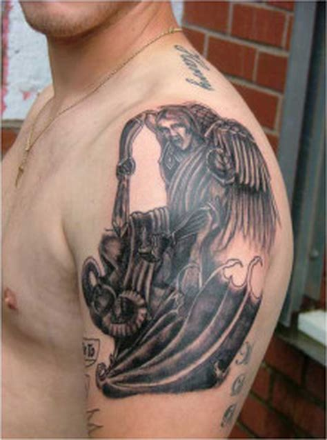 angel tattoo on shoulder black design on shoulder tattoos book