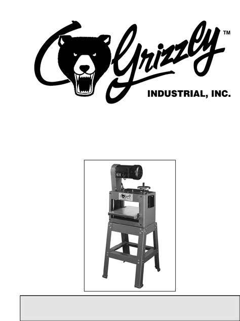 Grizzly Planer G1037 User Guide Manualsonline Com