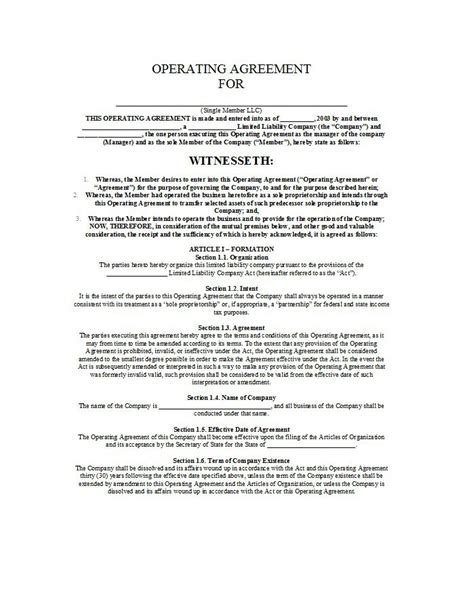 llc operating agreement template 30 free professional llc operating agreement templates