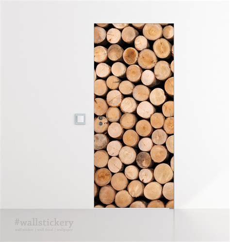 Wallpaper Sticker Dinding 315 stacked log door contact paper peel stick covering paper