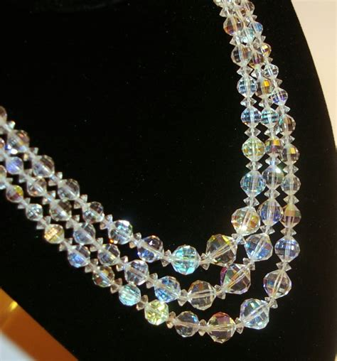 jewelry crystals austrian necklace signed laguna by