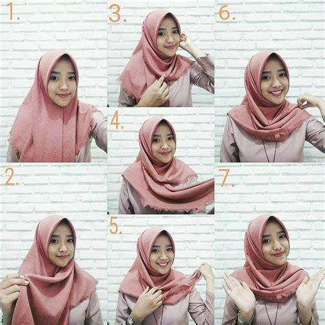 tutorial hijab segi empat praktis  memakai jilbab