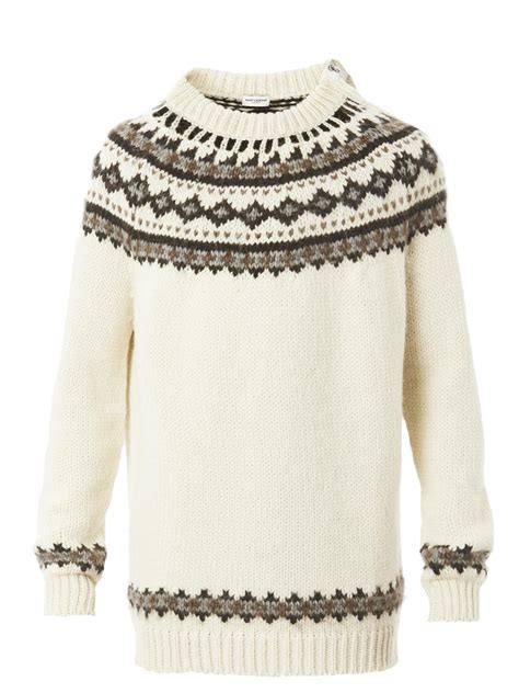 mens oversized knitted jumper lyst laurent fair isle knit oversized sweater in