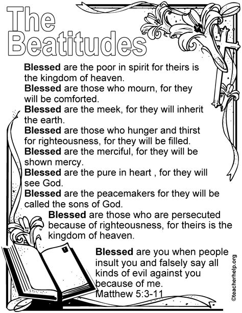 bible coloring pages for middle school the beatitudes coloring sheet homeschool bible