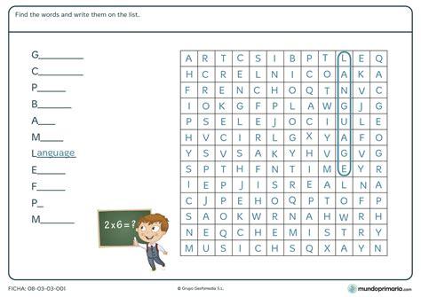 sopa de letras para primaria paraprimariacom ficha de sopa de letras en ingl 233 s para primaria