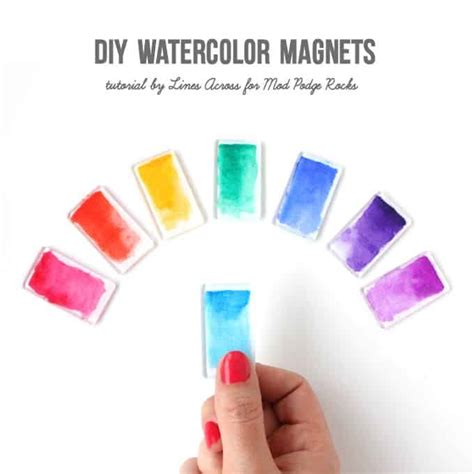 Make Cool Things Out Paper - watercolor brushstroke diy magnets mod podge rocks