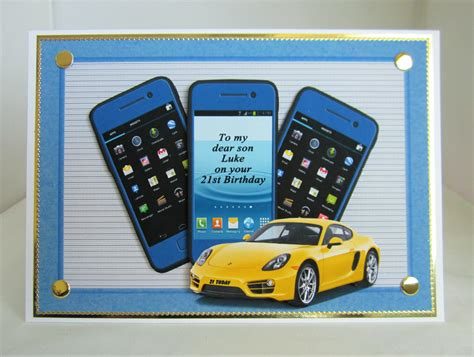 Free Mobile Birthday Cards Mobile Phone And Sports Car Birthday Card Layered