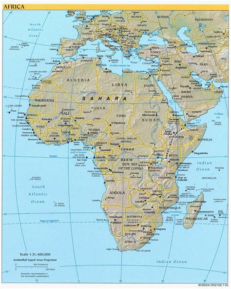large detailed political  relief map  africa africa