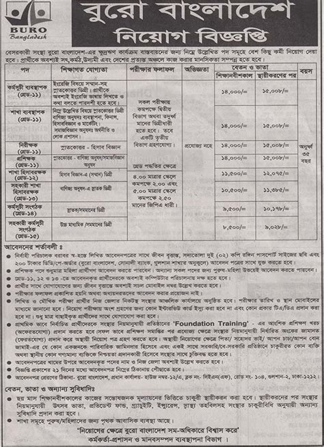 buro bangladesh barta buro bangladesh circular post programme