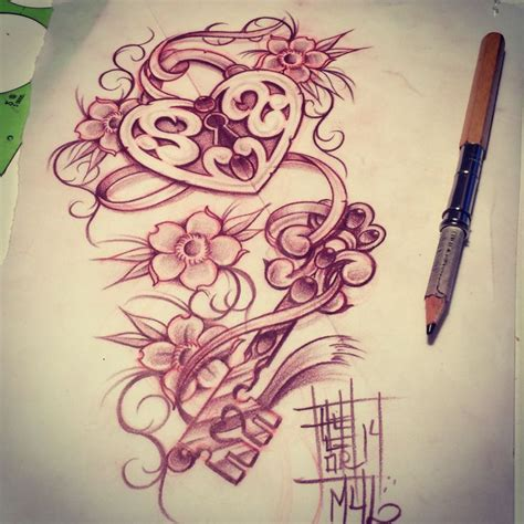 locket rose tattoo locket with a key my sketches