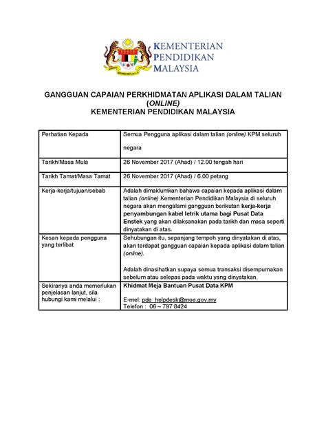 portal rasmi kementerian pendidikan malaysia kpm e perkhidmatan kementerian pendidikan malaysia gangguan