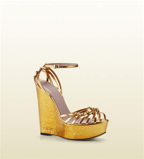 gold metallic high heel sandals gucci metallic leather high heel wedge sandal in