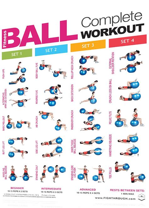 printable exercise ball workouts for beginners fightthrough fitness 18 x 24 laminated workout poster
