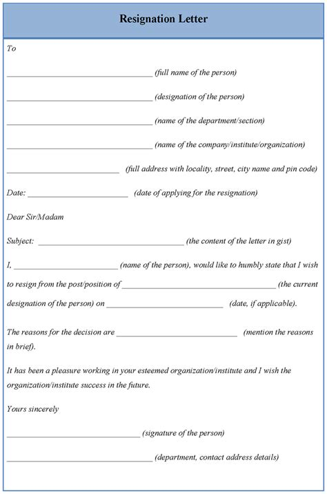 letter template for download resignation sle of