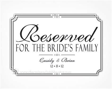 6 best images of printable wedding reserved signs free
