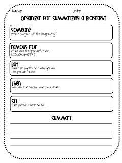 biography questions for middle school organizer for summarizing a biography reading responses