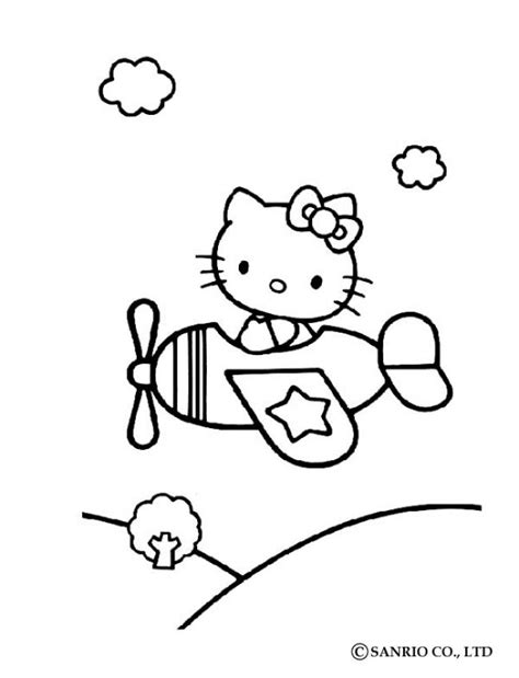 hello kitty airplane coloring page hello kitty in airplane coloring pages hellokids com