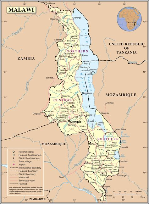 geographical map of malawi maps of malawi map library maps of the world