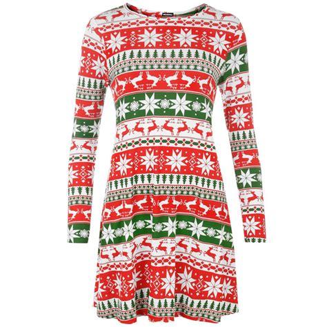 new womens long sleeves christmas print swing dress ladies