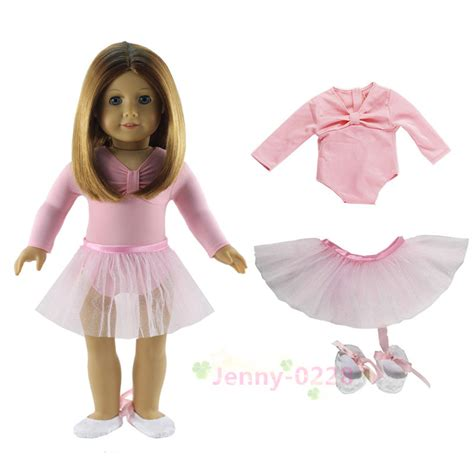 Blouse Setelan 3in1 Trendy pink ballet dress 3in1 set doll clothes top skirt shoes for 18 quot american doll in dolls