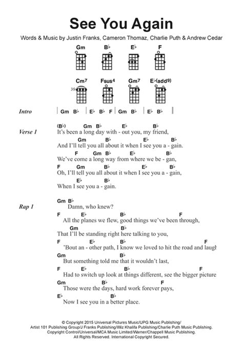charlie puth ukulele chords see you again feat charlie puth sheet music by wiz