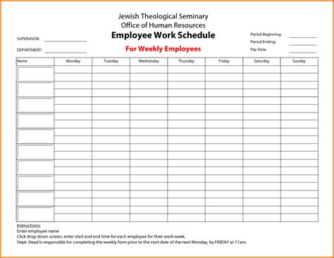 Employees Schedule Template Free search results for a 6 week calendar template calendar