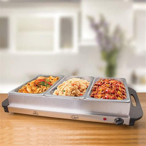 3 section food warmer buffet server warming tray hotplate with 3 sections food