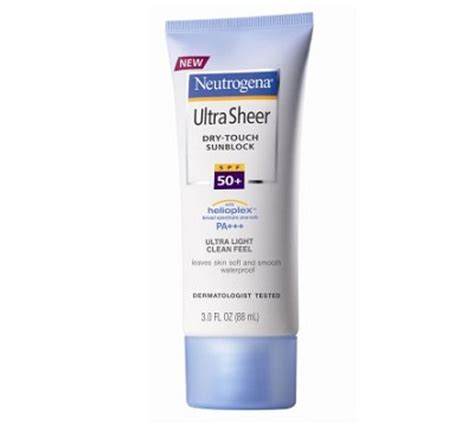 Neutrogena Ultra Sheer Touch Sunblock Spf 50 1 10 top best sunscreens for skin acne prone skin in