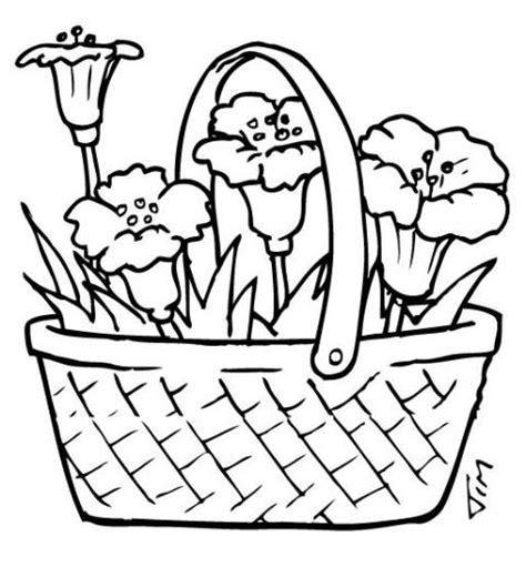 coloring pages basket of flowers flori de primavara planse de colorat