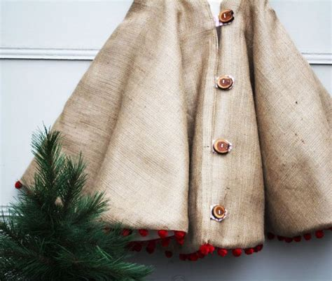 christmas tree skirt rustic burlap with wood buttons