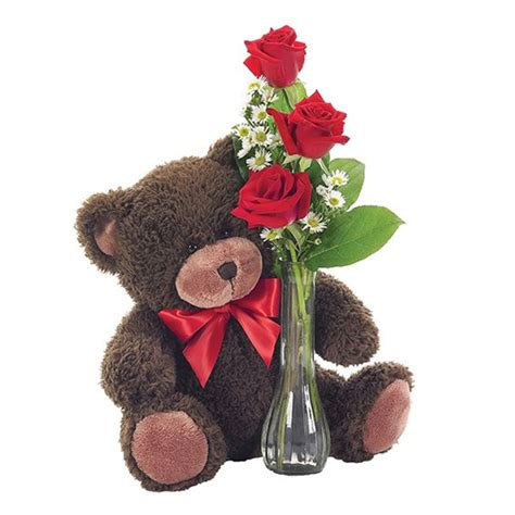 classic bud vase roses with teddy 1 800 flowers