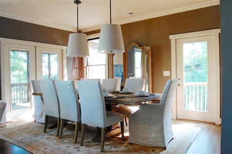 lake house dining room ideas phenomenal brown leather parsons dining chairs decorating