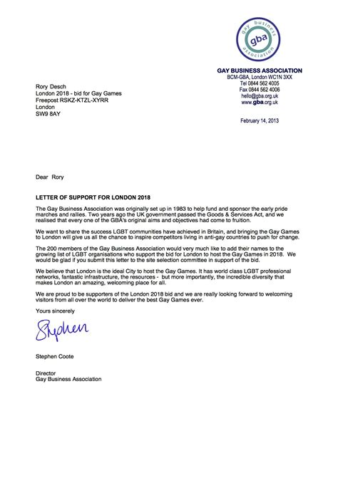Support Letter For Partnership letter of support for business the letter sle
