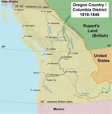 oregon country map 1846 oregon country