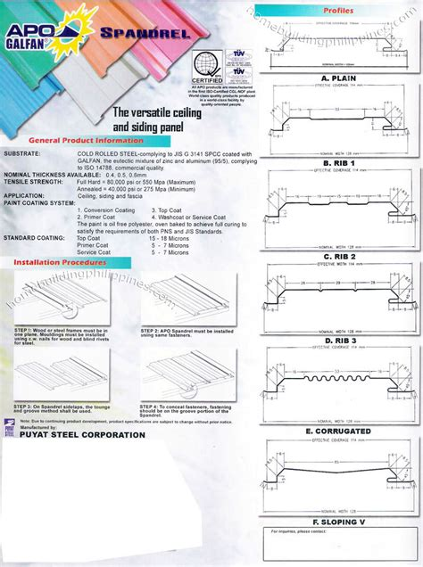 Steel Spandrel Ceiling/Siding Panel Specifications
