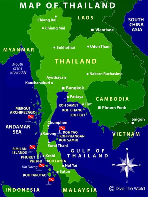 dive the world map of thailand dive the world thailand