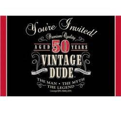 ezpartyzone com vintage dude 50th birthday party invitations