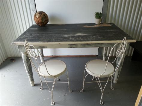 vintage shabby chic black and white country dining table