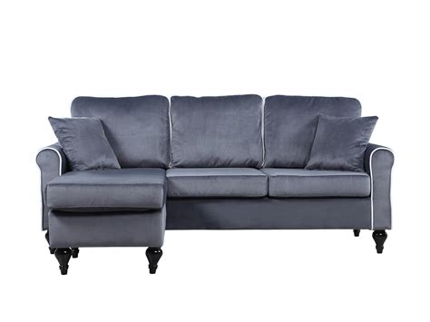 traditional small space grey velvet sectional sofa with