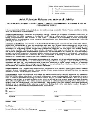 Liability Waiver Form Pdf Templates Fillable Printable Sles For Pdf Word Pdffiller Volunteer Liability Waiver Template