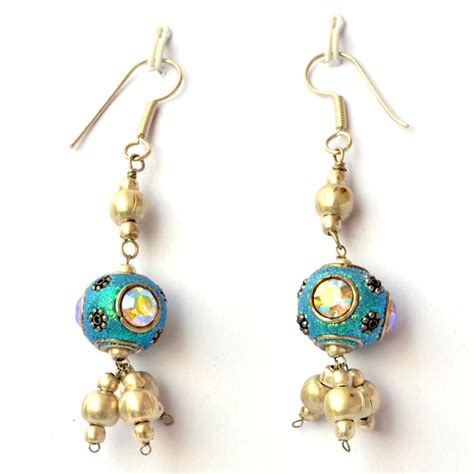 Handmade Beaded Earrings - handmade earrings aqua glitter with