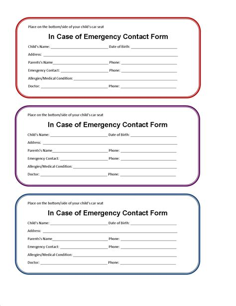 information cards template printable emergency contact form for car seat car seats